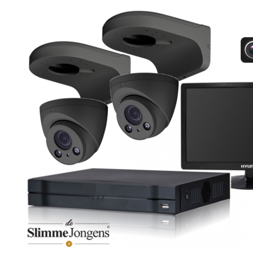 De Slimme Jongens set 4MP IP varifocal camera antraciet